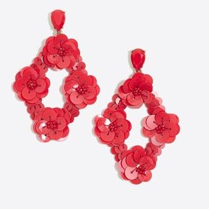 J crew red floral sequin earrings